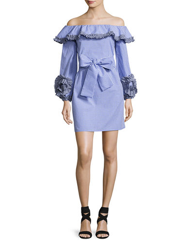 Alexis Miquela Gingham Ruffled Poplin Mini Dress