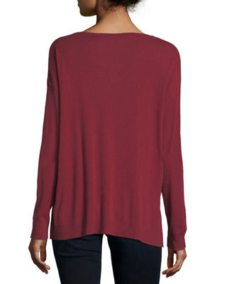 Image 2 of 2: Cotton/Cashmere Long-Sleeve Crewneck T-Shirt