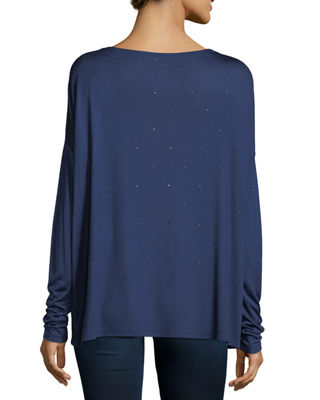 Crystal-Trimmed Long-Sleeve Boatneck T-Shirt