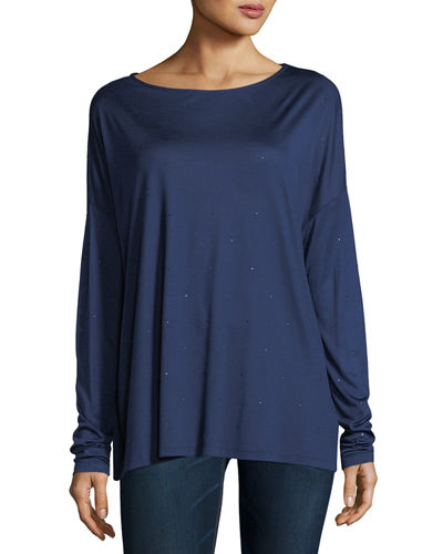 Majestic Paris for Neiman Marcus Crystal-Trimmed Long-Sleeve