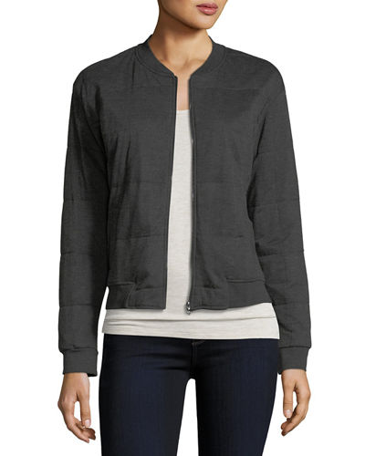 Quilted Viscose Bomber Jacket