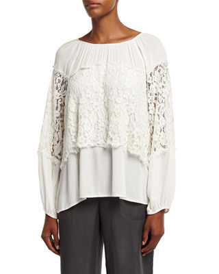 XCVI Sunneva Lace Mix Crepe Top, Plus Size in Ibis White