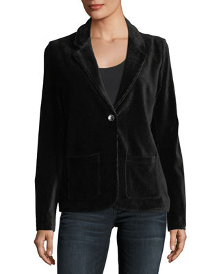 Single-Button Velour Blazer