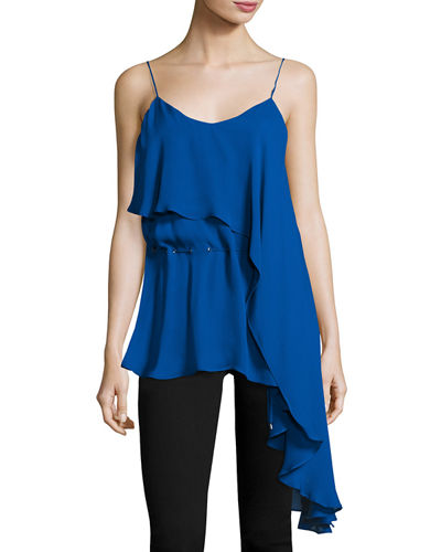 Haute Hippie Faye Ruffled Silk Tank Top