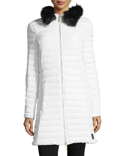 Hunter Boot Quilted Fitted Zip-Front Midi Coat w/
