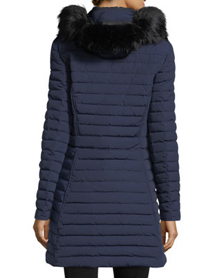 Image 2 of 5: Quilted Fitted Zip-Front Midi Coat w/ Faux-Fur
