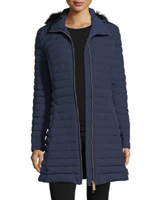 Image 4 of 5: Quilted Fitted Zip-Front Midi Coat w/ Faux-Fur