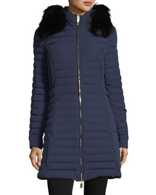 Image 1 of 5: Quilted Fitted Zip-Front Midi Coat w/ Faux-Fur