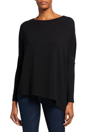 Majestic Filatures Asymmetric Boat-Neck French Terry Top