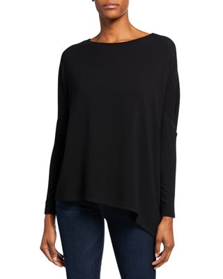 Asymmetric Boat-Neck French Terry Top