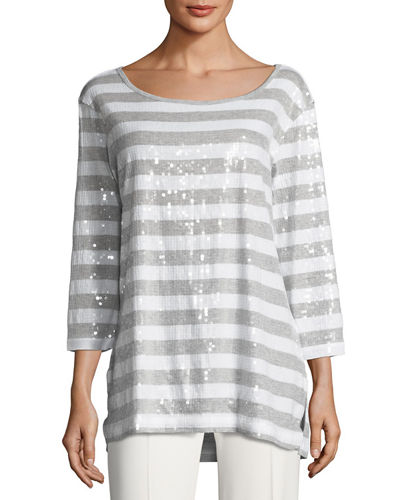 Sequined Striped Tunic, Plus Size