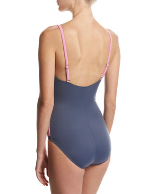 Lisa Solid Draped-Front One-Piece Swimsuit