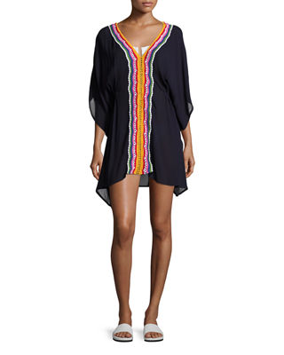 Peace Love Embroidered Caftan Coverup
