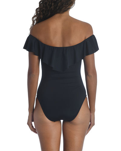 Studio Solids Off-the-Shoulder One-Piece Swimsuit