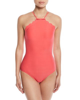 scalloped high-neck one-piece swimsuit