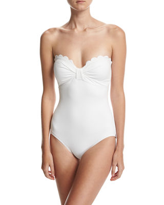 Image 1 of 5: scalloped bandeau one-piece swimsuit