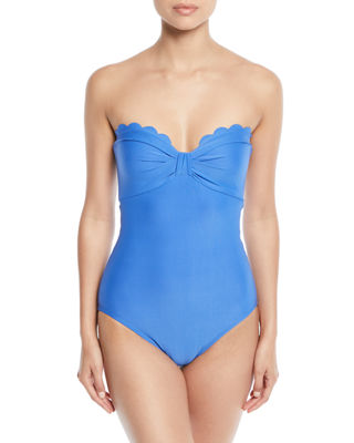 kate spade new york scalloped bandeau one-piece swimsuit