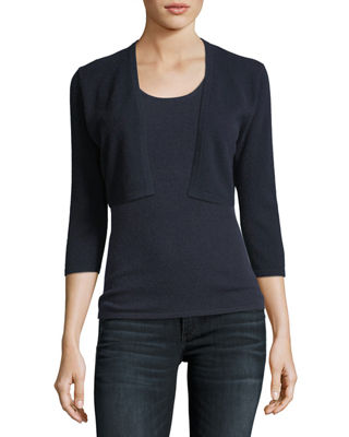 Neiman Marcus Cashmere Collection 3/4-Sleeve Cashmere Shrug