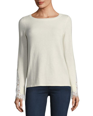 Neiman Marcus Cashmere Collection Lace-Cuff Cashmere Crewneck