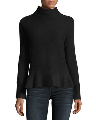 Neiman Marcus Cashmere Collection Ribbed Mock-Neck Cashmere