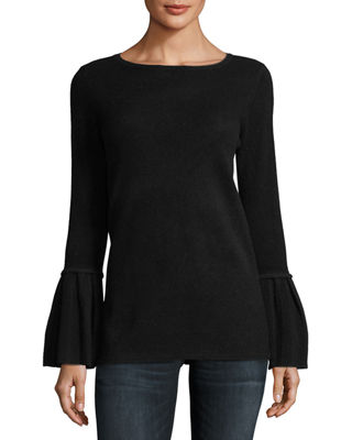 Neiman Marcus Cashmere Collection Pleated Bell-Sleeve Boat-Neck