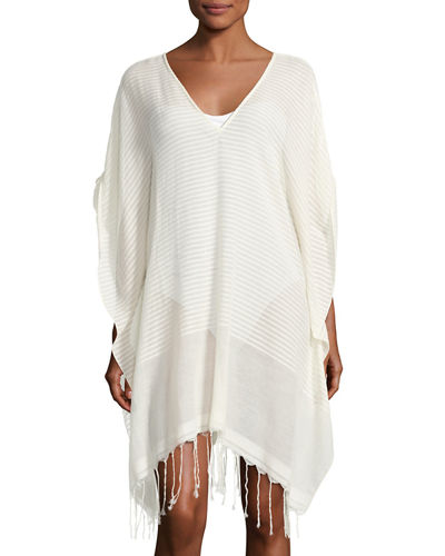 SU PARIS Luma Rolled Sleeves Striped Poncho