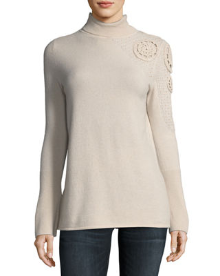 Asymmetric Crochet-Shoulder Cashmere Turtleneck