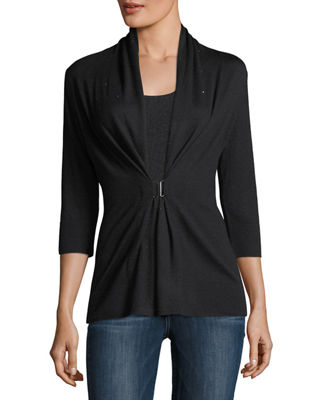 Image 1 of 3: 3/4-Sleeve Crystal Buckle Cashmere Cardigan