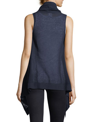 Image 3 of 4: Superfine Cashmere Mesh Hooded Vest