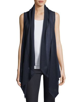 Image 1 of 4: Superfine Cashmere Mesh Hooded Vest