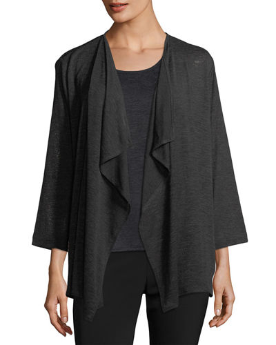 Gauze Knit Draped Jacket, Plus Size