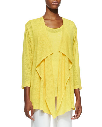 Caroline Rose Gauze Knit Draped Jacket, Solid Knit