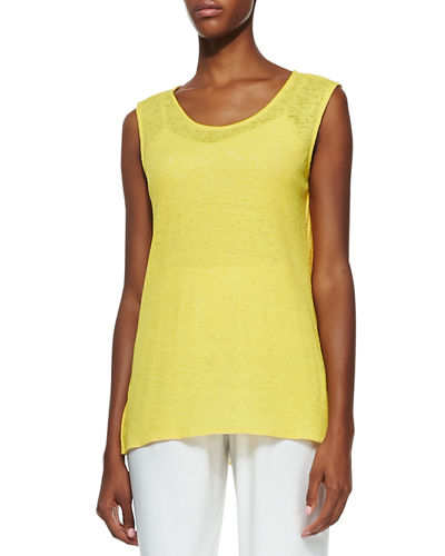 Solid Knit Gauze Tank, Plus Size