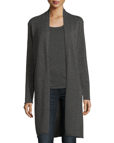 Neiman Marcus Cashmere Collection Metallic Cashmere Duster