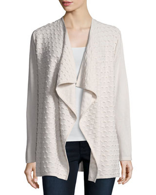Wave-Textured Cashmere Cardigan w/ Superfine Sleeves