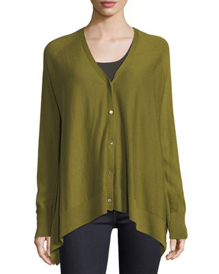 Neiman Marcus Cashmere Collection Superfine Button-Front Cashmere