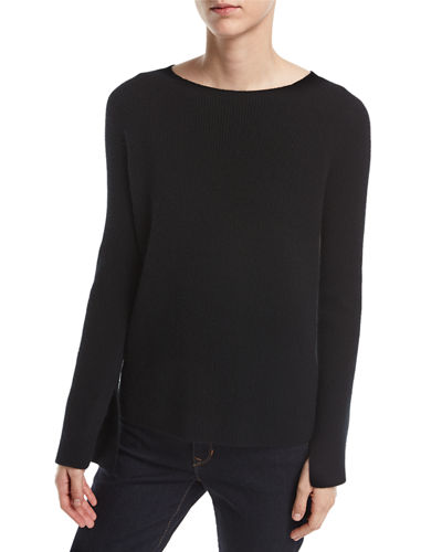 Neiman Marcus Cashmere Collection Long Split-Sleeve Crewneck