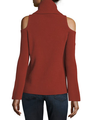 Image 3 of 3: Ribbed Cold-Shoulder Cashmere Turtleneck