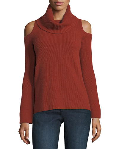 Neiman Marcus Cashmere Collection Ribbed Cold-Shoulder Cashmere