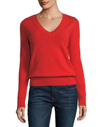 Neiman Marcus Cashmere Collection Classic Cashmere V-Neck Sweater