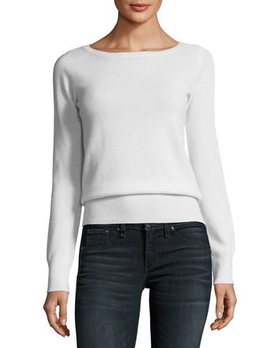 Neiman Marcus Cashmere Collection Classic Cashmere Bateau-Neck