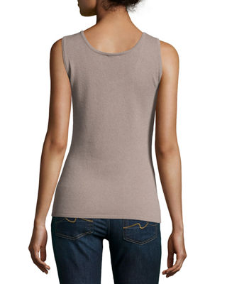 Image 2 of 2: Scoop-Neck Cashmere Tank