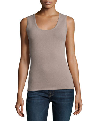 Image 1 of 2: Scoop-Neck Cashmere Tank