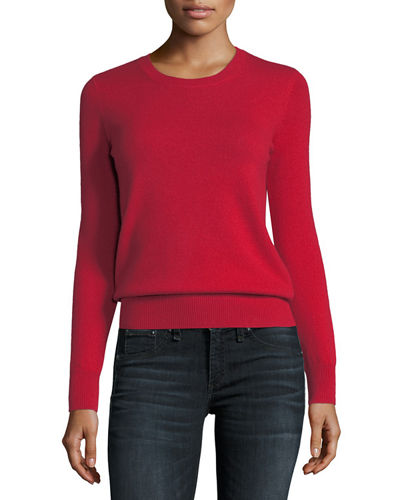 Neiman Marcus Cashmere Collection Classic Cashmere Crewneck