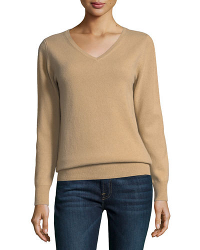 Neiman Marcus Cashmere Collection Classic Cashmere V-Neck