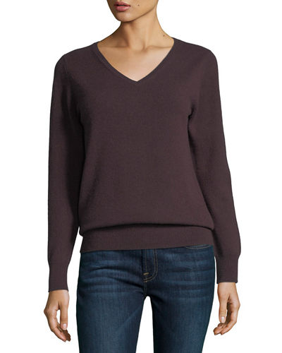 Neiman Marcus Cashmere Collection Relaxed V-Neck Cashmere