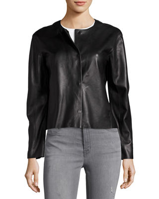 Cecilia Snap-Front Leather Jacket