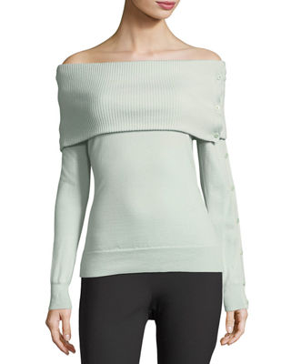 Theory Off-the-Shoulder Button-Sleeve Foldover Wool-Blend Top