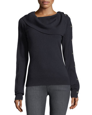 Off-the-Shoulder Button-Sleeve Foldover Wool-Blend Top