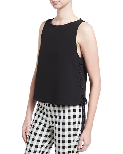 Eliza Sleeveless Lace-Side Boxy Top
